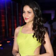 Actress Lavanya Tripathi Pictures in Yellow Sleeveless Dress at Zee Telugu Kutumbam Awards
