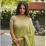 Malavika Mohanan Green Saree HD Photos at Thalapathy 64 Movie Pooja